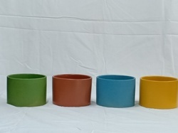 Green Brown Blue Yellow Small Ceramic Glazed Pot, for Interior Decor, Packaging Type: Box Packing