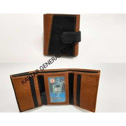 Black And Brown Trifold Leather Wallet