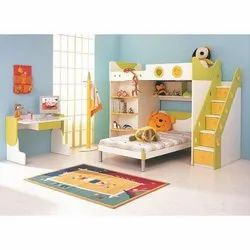 Wooden Bed Kids Bedroom Furniture, Size/Dimension: Small, for Home