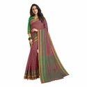 Peach Color Chanderi Banarasi Cotton Weaving Sari With Blouse Piece