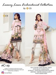 CS Luxury Lawn Block Buster Lawn Digital Print With Embroidery Pakistani Salwar Suit
