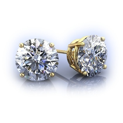 Jenujewel White Round Moissanite Earrings Yellow Gold