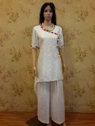 White Color Soft Net High Low Kurti
