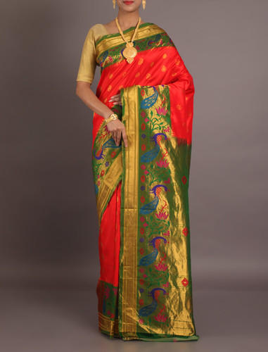 ff66125b90 Red Party Wear And Bridal Wear Pure Paithani Silk Saree, Rs 27557 ...