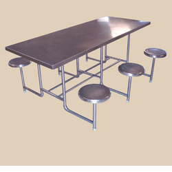 Stainless Steel Industrial Dining Tables With Chairs