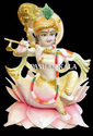 White Painted Krishna Statue On Lotus, For Worship