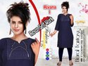 3/4th Sleeves Rayon Self Work Kurti