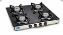 Black Toughen Glass Gl 1046 Gt, Size: 4 Burner