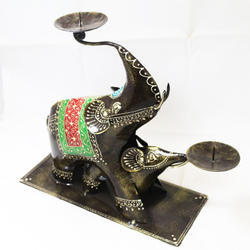 Double Elephant Iron Candle Holder With Beautiful Minakari