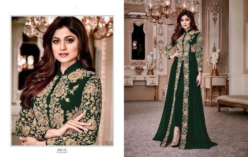 3cd2f82b96b Georgette Green Semi-Stitched Salwar Kameez