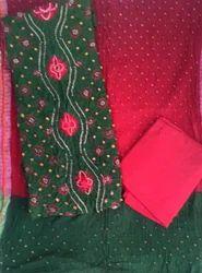 Unstitched Green Panel Bandhani Sets