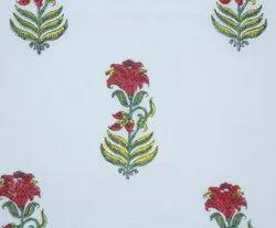 Floral Buta Hand Block Print Ethnic Cotton Fabric