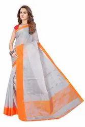 Ajmera Fashion South Cotton Chanderi Saree, With Blouse Piece, 6.20 MTR