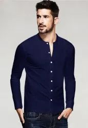 V-Neck Royal Blue Men's Knitted Shirt, Size: S to XXL