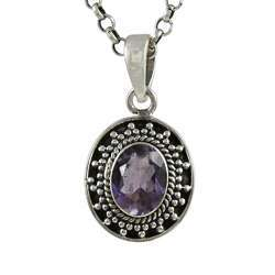 Natural Purple Amethyst 925 Sterling Silver Pendant