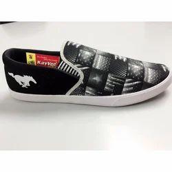 Kayvee Footwear Black And White Denim Casual Shoe