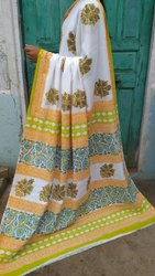 Mul Cotton Party Wear Block Print Sarees-1, Hand Made, 6.5 meter With Blouse Piece