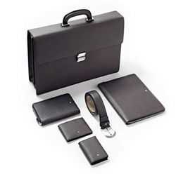 LEATHER BLACK And BROWN Laptop Briefcase Bag