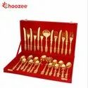 Choozee - Brass Gold Plated Cutlery Set (27 Pcs)