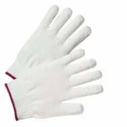 White Nylon Knitted Gloves, For Safety, Small