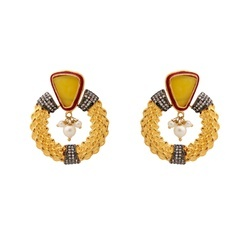 Yellow Engagement And Party Mughal Style Chandbala Earrings