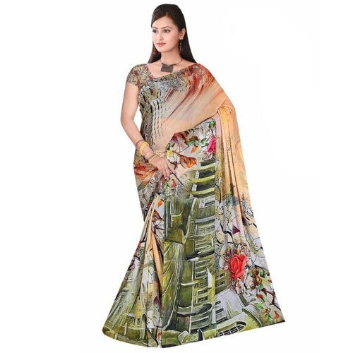 Ladies Party Wear Synthetic Saree, 6 m (with blouse piece), Packaging Type: Packet