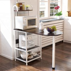 Dining Table Cum Bar Counter for 2 with Microwave Oven Storage Rack