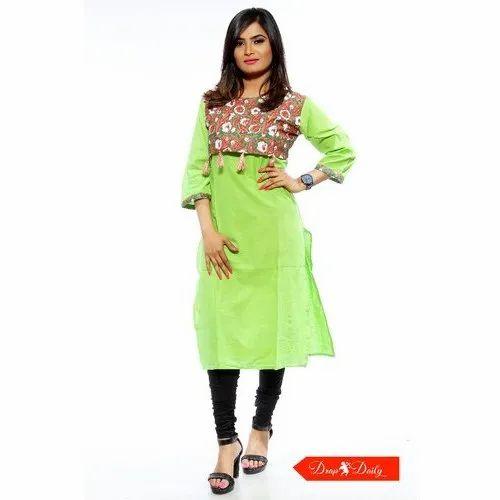 Woman Stitched Round Neck Jaipuri Rayon Printed Kurti