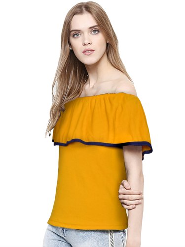 8ec3aed543b67c S-xxl Hosiery Ladies Yellow Off Shoulder Top