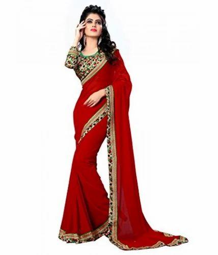 007847e5fa Sarees - Women's Chiffon Saree With Blouse Piece Ecommerce Shop ...