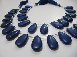 Lapis Hydro Quartz Pear Shape Plain Smooth Beads