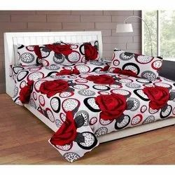 Soft Touch Red Painted Bed Sheet, Size: Double