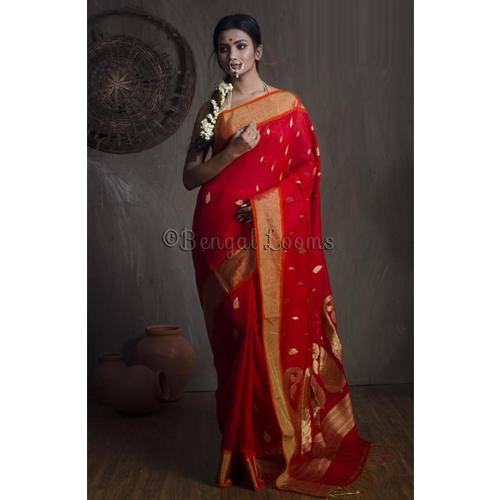 1e30172ddc Pure Handloom Khadi Soft Cotton Saree in Red and Gold at Rs 3675 ...