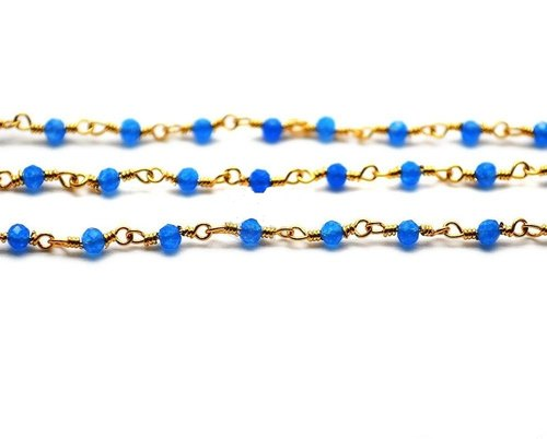 Blue jade facted Round silver plated Rosary Style Beaded Chain wire wrapped chain jade wire wrapped rosary chain