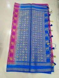 SHV Party Wear Banarsi Silk Saree, 6.3 m (with blouse piece)