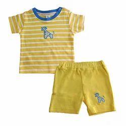 Cotton Yellow Kids Baba Suit