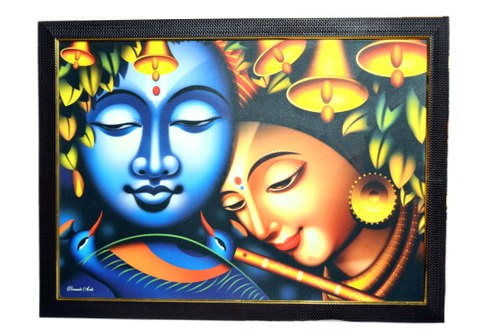 Radha Krishna Yugal Jodi Beautiful Scenery Modern Art Wall Painting Photo With Framing 20x14 Inch At Rs 160 Piece Radha Krishna Paintings Id 22398625688