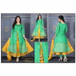 Chanderi Stitched Ladies Designer Churidar Suit, Machine wash