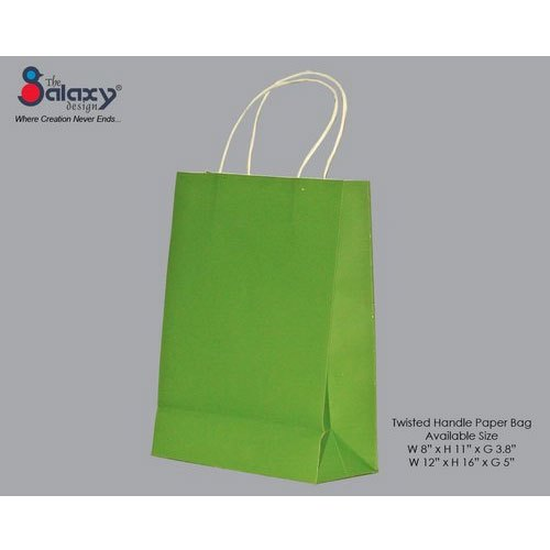 The Galaxy Design Green Twisted Handle Paper Bags, for Shopping