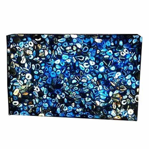Handicrafts Gateway Natural Backlit Blue Agate Slab, Thickness: 10-15 mm