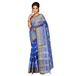 Blue Cotton Fashionable Ladies Saree, With Blouse Piece