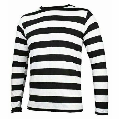 02f6f9e9c3895 Hosiery L Black And White Full Sleeve Round Neck Striped Mens Long T Shirt