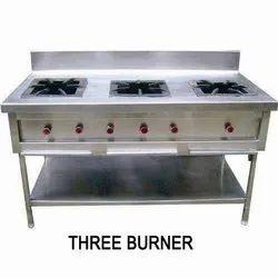 Three Burner Stainless Steel Gas Range, For Restaurant