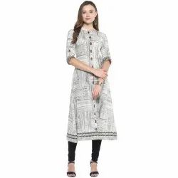 Yash Gallery Womens Cotton Printed A-Line Kurta