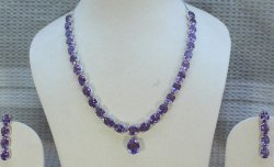 Sterling Silver Amethyst Single Line Necklace Set