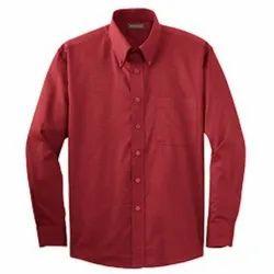 Collar Neck Plain Mens Red Cotton Shirt