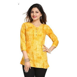 Rayon Yellow V Neck Short Kurti