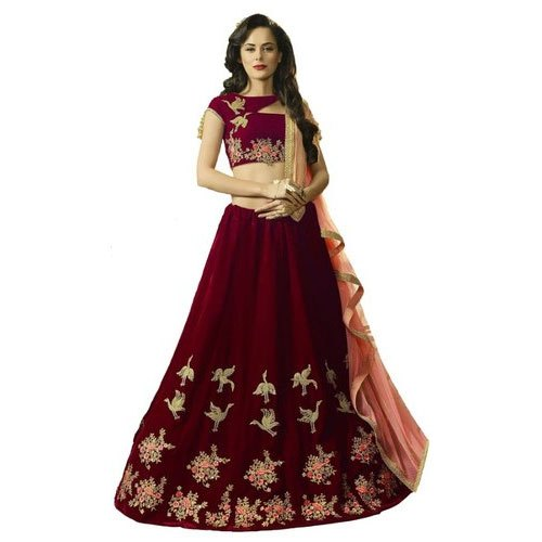 2c841f2874 Semi-Stitched Velvet Women Designer Embroidery Lehenga Choli, 18-35,  Dupatta Fabric