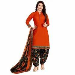 Rajnandini Orange Crepe Printed Unstitched Dress Material