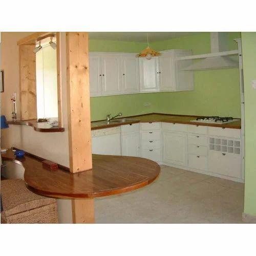 Wooden L Shape Modular Kitchen, Warranty: 10-15 Years